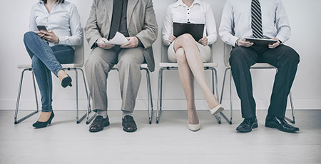 interviewees in a waiting area